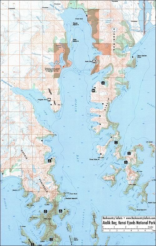 Resurrection Bay Alaska Map.Aialik Bay Map Kenai Fjords National Park Alaska