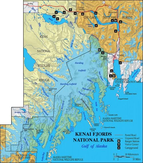 Kenai Fjords National Park Maps Alaska